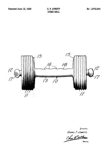 fitness plakat e´med patent tegning af håndvægt