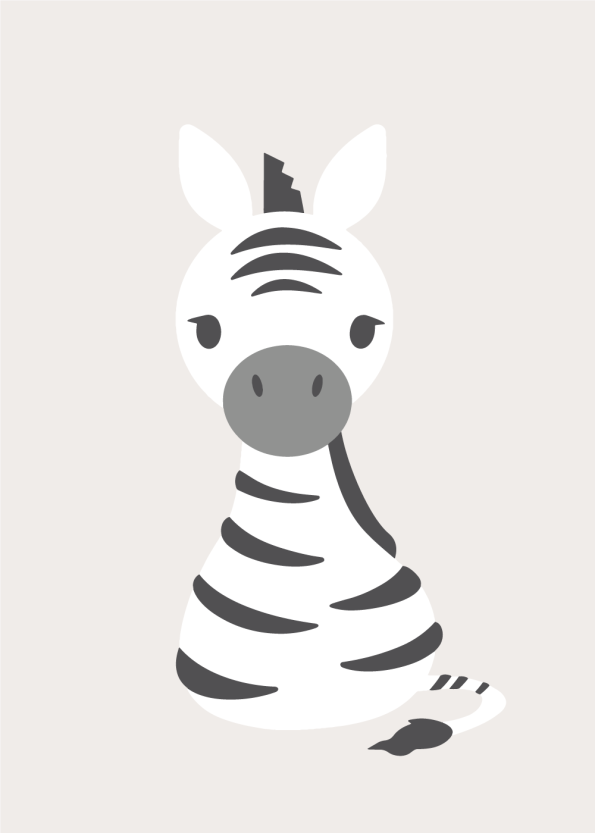 plakater med zebra og andre søde dyr