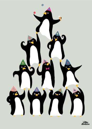 børnetegning på plakat med pingviner der balancerer