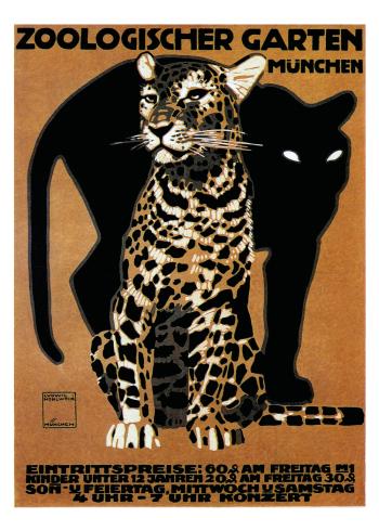 leopard zoo plakat i retro stil