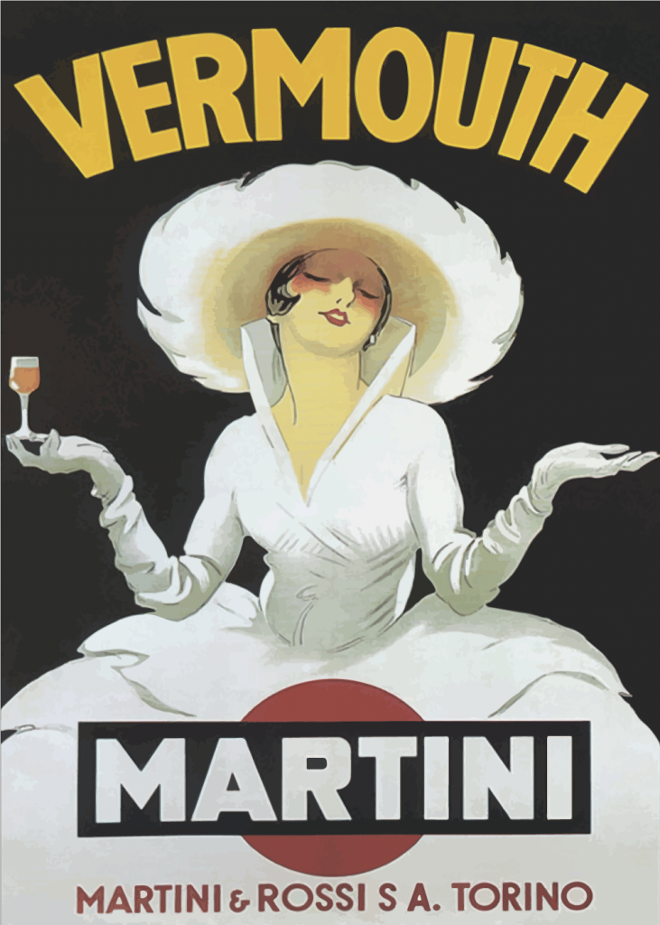 vintage plakater med vermouth martini