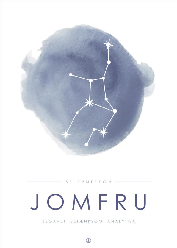 stjernetegn plakater med stjernebillede af jomfruen i blå