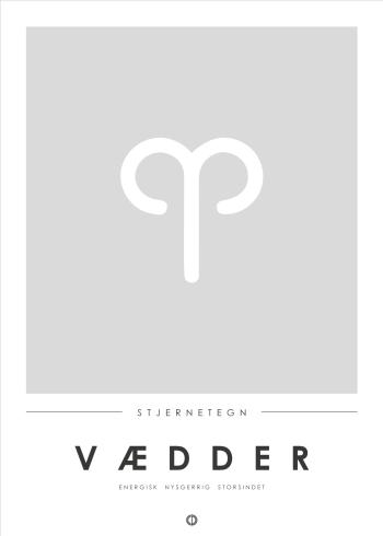 Stjernetegn plakat i minimalistisk stil med vædderen