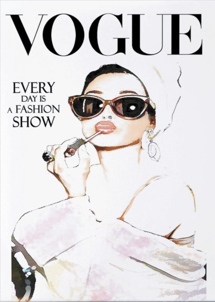retro plakat af gammel magasinforside fra vogue. kvinder ligger make-up
