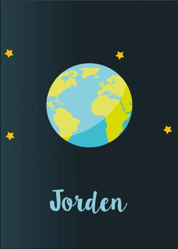 Planet plakat med Jorden til børneværelset
