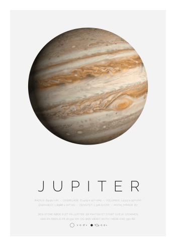 Planet plakat med Jupiter, solsystemets største planet