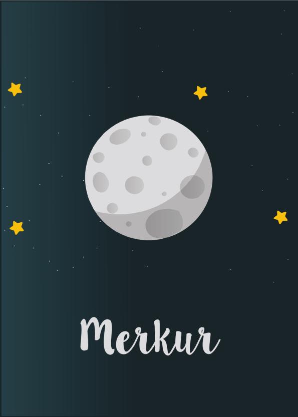 Planet plakat med Merkur til børneværelset