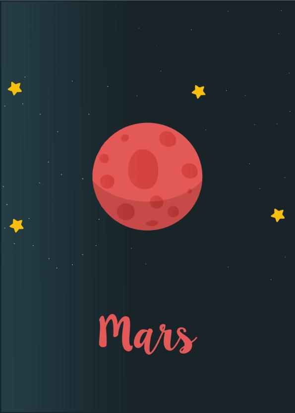 Planet plakat med planeten Mars til børneværelset