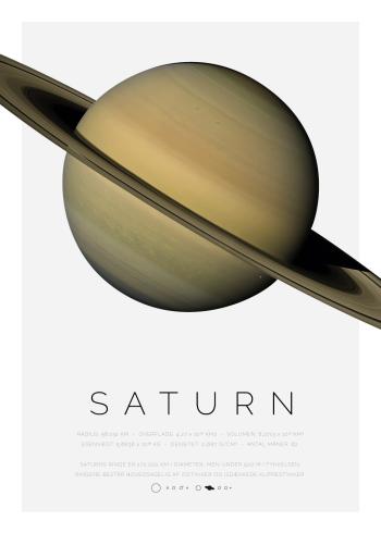 Planet plakat med Saturn og dens ringe