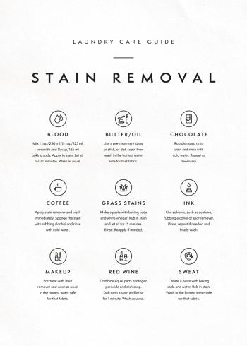 vaske guide til fjernelse af pletter plakat
