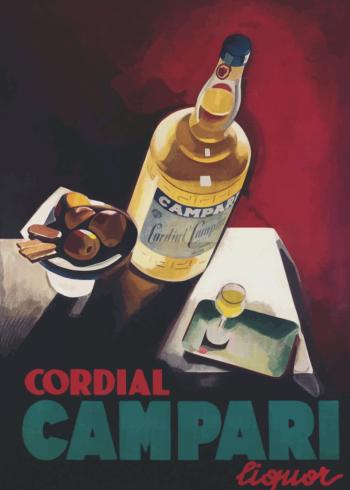vintage plakater med alkohol campari