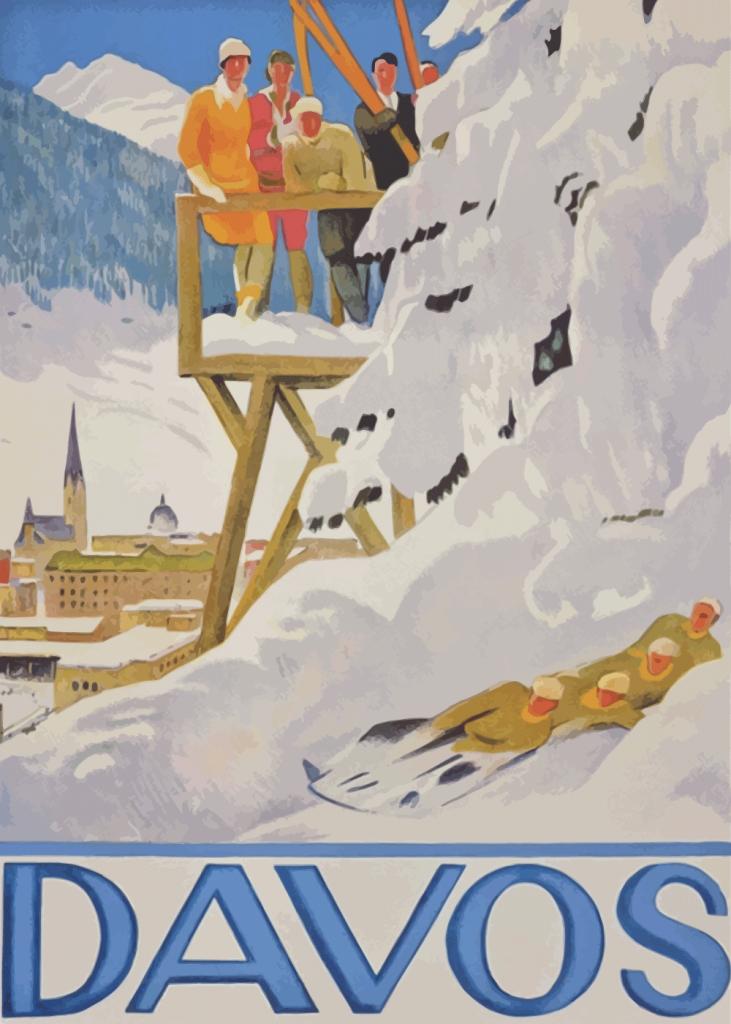 retro plakater med ski steder i davos