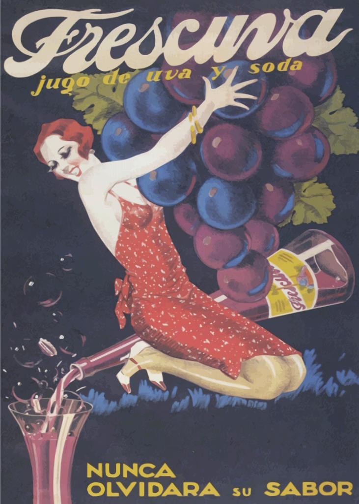 retro plakater med alkohol og vin