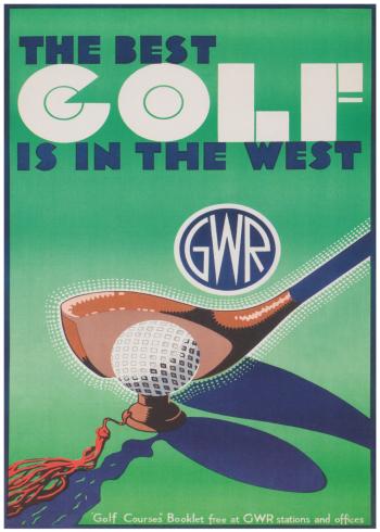 retro plakater med golf klubber
