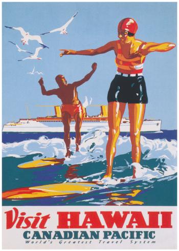 retro plakater med hawaii strand