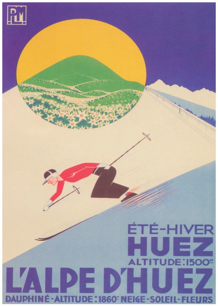 retro plakater med l'alpe d'huez ski sted