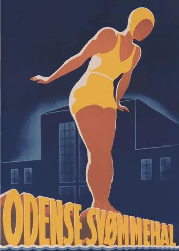 retro plakater dansk design af odense svømmehal