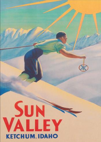 retro plakater med ski i sun valley