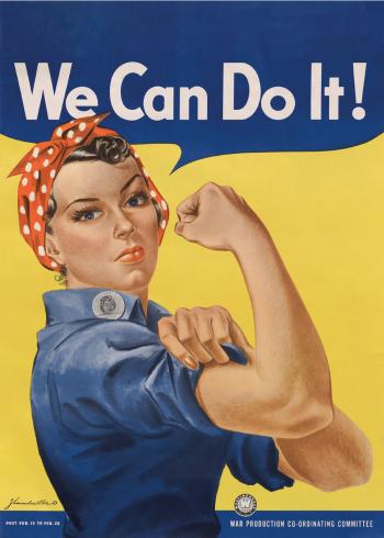 retro plakater med female workers poster