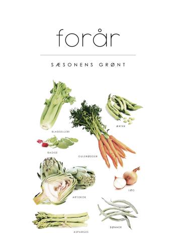 grøntsager på plakat med sæsonens grønt