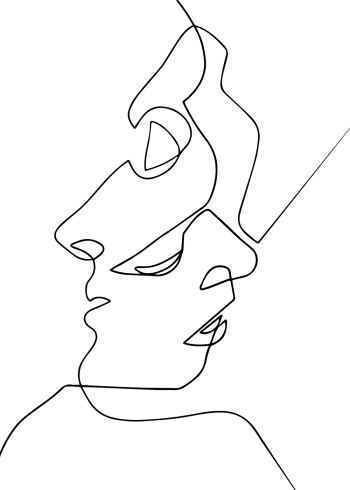 one line drawing plakat af to ansigter