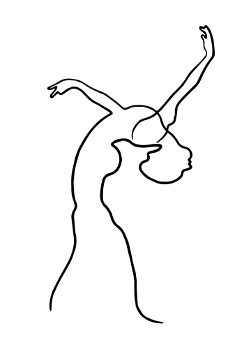 design plakat med ballerina tegnet i one line art drawing