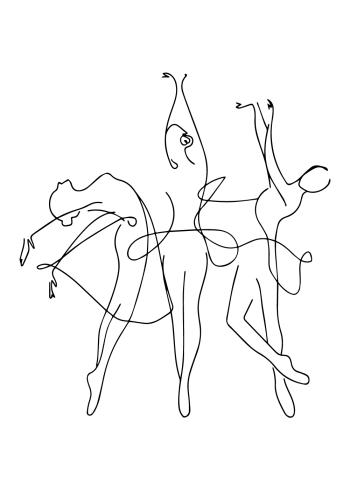 one line plakat af tre ballerinaer der danser