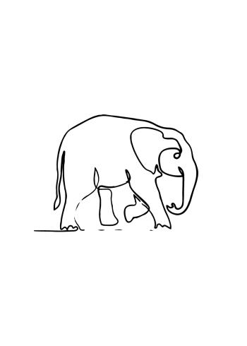 one line drawings plakater med en tegning af en elefant