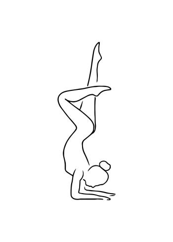 yoga plakat med kvinde der laver yoga øvelser