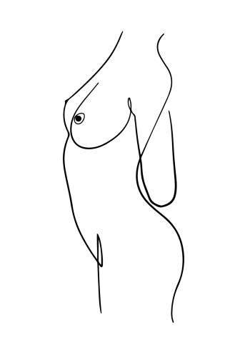 one line drawings den nøgne kvindekrop