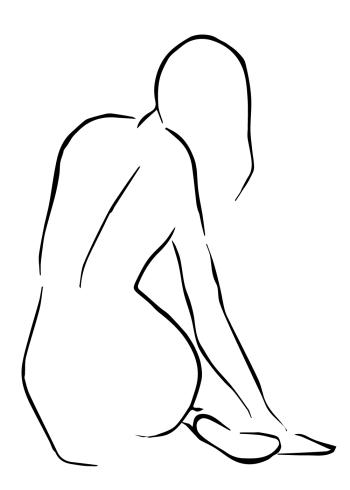 kunst plakat af nøgen kvindeder sidder med ryggen til