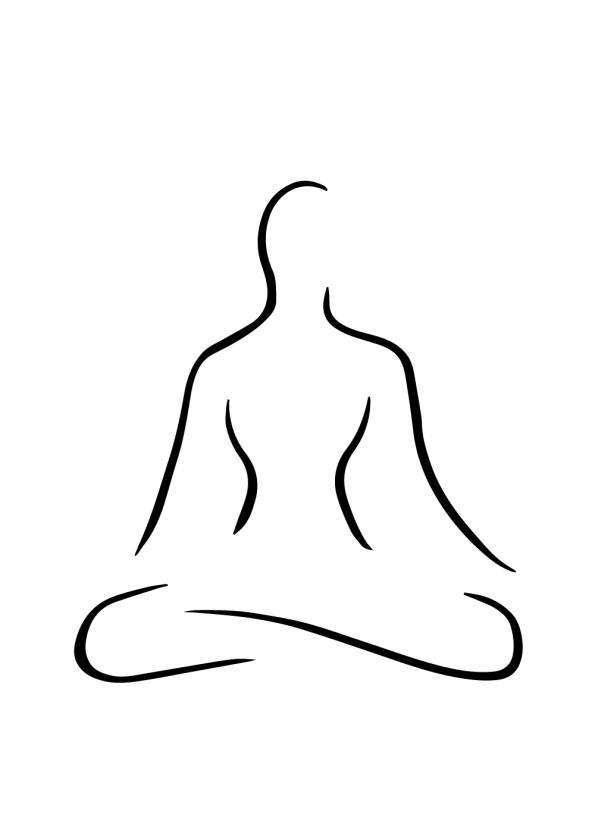 yoga plakat skrædderstilling