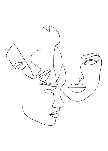 kunstplakat af tre ansigter i one line drawing art
