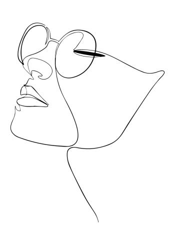 design plakat i one line art af kvinde ansigt med briller