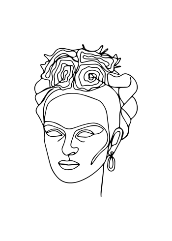 frida kahlo in one line plakat
