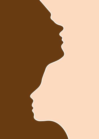 Denne fine human race plakat, som er en illustration af to ansigter i henholdsvis brun og beige. Plakaten har et smukt budskab om at vise, at der er en balance mellem racer, uanset race eller hudfarve.