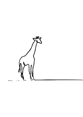 kunst plakater med dyr af en giraf til børn i one line drawing