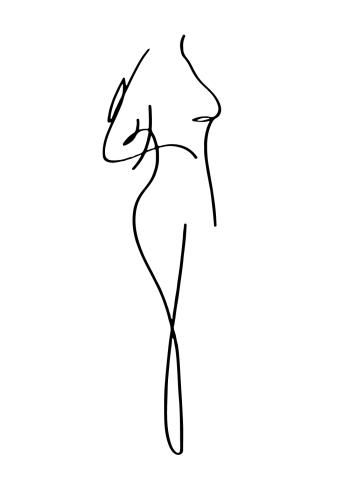 one line drawings plakater med kvinde kroppe
