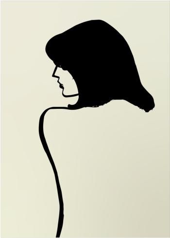 enkel kunst plakat af kvinde malet med tynd streg