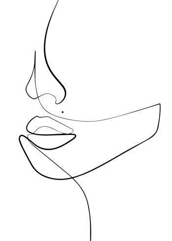 kunst plakat at kvinde ansigt tegnet i one line art