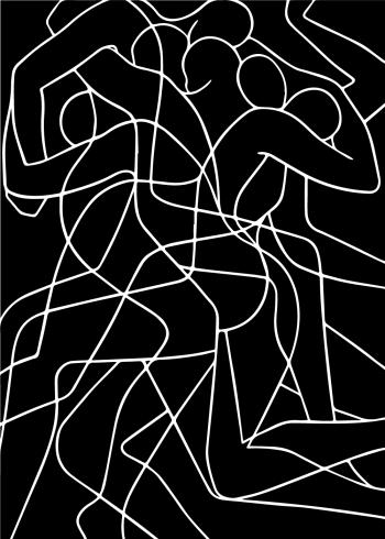 kunstplakat med one line drawing af mange mennesker der smelter sammen