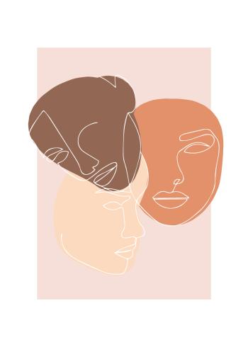 Flot illustration af tre forskellige ansigter i hver sin farve i lys- og mørkebrun og farven beige, illusterede i oneline