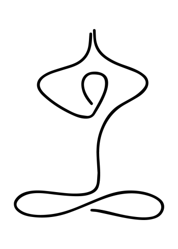yoga plakat med yoga pose i one line drawing