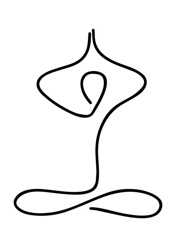yoga plakat med yoga pose i one line drawing