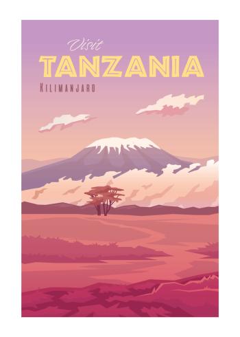 Grafisk plakat i de flotteste lyserøde farver af tanzania med kilimanjaro i baggrunden