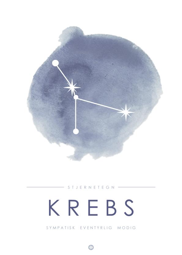 stjernetegn plakater med stjernebillede af krebsen i blå