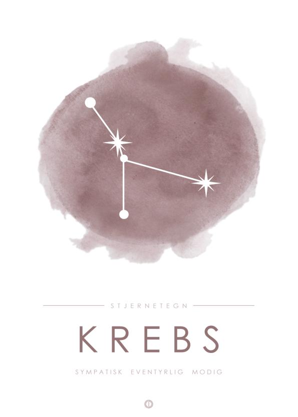 stjernetegn plakater med stjernebillede af krebsen i lyserød