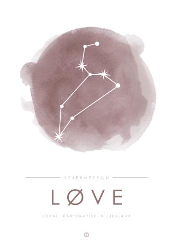 stjernetegn plakater med stjernebillede af løven i lyserød