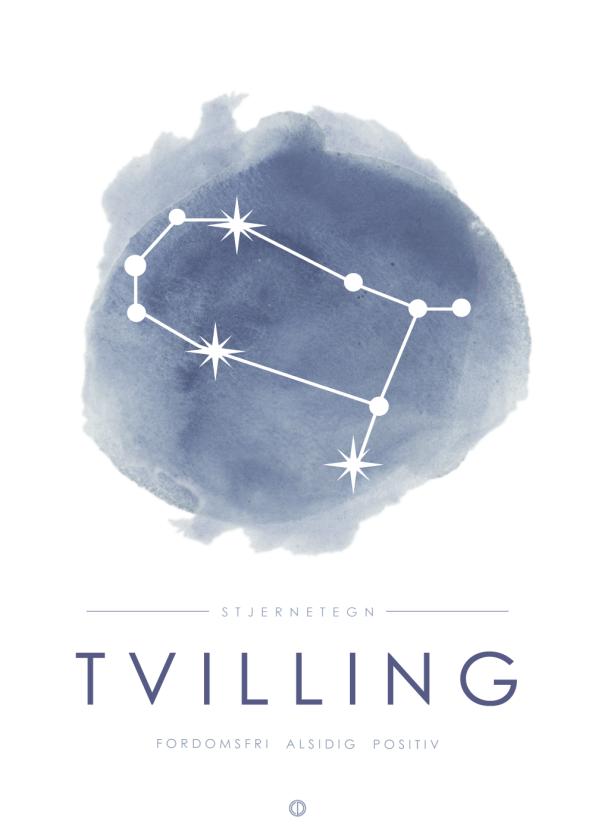 stjernetegn plakat med tvilling i stjernebillede i blå