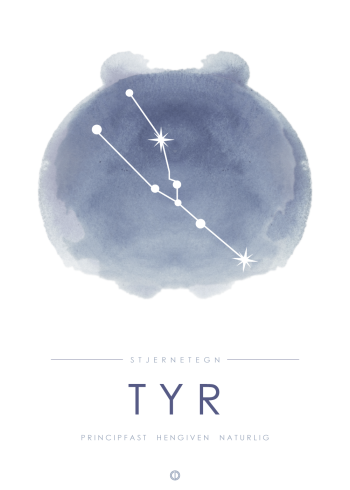 stjernetegn plakat med tyren i stjernebillede i blå